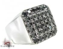 TraxNYC Light  Black Diamond 14K White Gold Ring Mens Black Diamond Rings