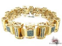 Yellow Gold Blue and Canary Bullet Bracelet Mens Diamond Bracelets