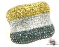 Yellow Gold Tri Color Bone Ring Mens Diamond Rings