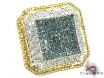 Yellow Gold Multi Color Octagon Ring 2 Mens Diamond Rings