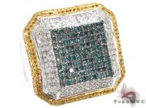 White Gold Multi Color Octagon Ring 2 Mens Diamond Rings