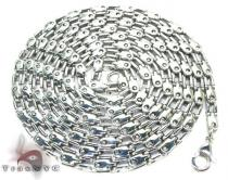 White SS Heavy Linked Chain 40in, 3mm, 46 Grams Stainless Steel Chains
