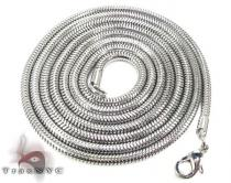White SS Snake Chain 40in, 3mm, 22.3 Grams Stainless Steel