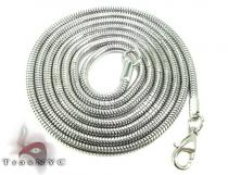 White SS Snake Chain 30inch, 2mm, 12.4 Grams ステンレススティールチェーン