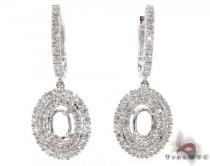 Oval Semi Mount Earrings Diamond Earrings For Women