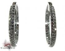2 Row Black Diamond Hoops Diamond Hoop Earrings