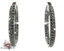 2 Row Black Diamond Hoops Earrings ダイヤモンド フープイヤリング