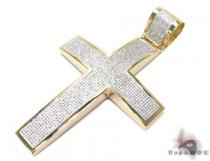 Yellow Gold XL Pave 10K Cross Mens Diamond Cross