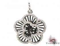 Black Rhodium Sterling Silver & Diamond Flower Pendant Diamond Pendants