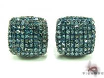 XL Blue Diamond Ice Pillow Earrings Mens Diamond Earrings