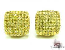 XL Canary Diamond Ice Pillow Earrings Mens Diamond Earrings