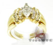 Triangle Cut Band Diamond Wedding Sets