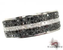5 Row White Strip Ring Mens Black Diamond Rings