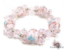 Pink Flower Crystal Bead Bracelet Gemstone & Pearl
