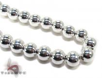Silver Bead Chain 16 Inches, 12mm, 75.2 Grams Silver