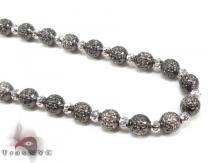 Black Rhodium Moon Cut Chain 22 Inches 5mm 24.6 Grams Gold Chains