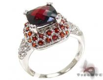 Ladies Silver Garnet Gemstone Ring 19968 Silver Rings For Women