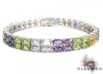 Ladies Silver Gemstone Bracelet 19972 ステアリングシルバーブレスレット