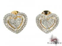 Ladies Yellow Gold Diamond Heart Stud Earrings 20893 Style