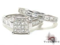 Ladies White Gold Princess Baguette Cut Diamond Ring Set 20960 Diamond Wedding Sets