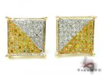 Yellow Gold Two Color Diamond Earrings 21013 Mens Diamond Earrings