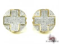 Yellow Gold Diamond Cross Crucifix Earrings 21015 メンズ ダイヤモンドイヤリング ピアス