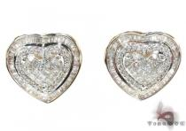 Ladies Two Tone Gold Diamond Heart Earrings 21038 Diamond Earrings For Women