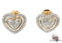 Ladies Yellow Gold Diamond Heart Earrings 21039 Stone