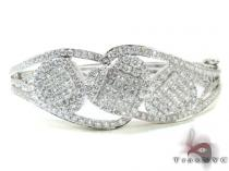 Ladies White Gold Heart Diamond Bracelet 21122 ダイヤモンド ブレスレット