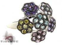 CZ Colorful Flower Ring 21313 Silver Rings For Women