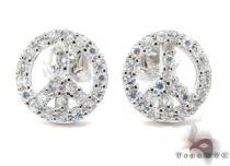 CZ Silver Peace Sign Earrings 21998 レディース シルバーイヤリング