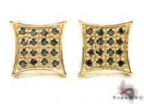 4 Row Round Black Diamonds Mens Diamond Earrings