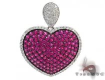 Heart Pink Color Gemstone Diamond Pendant Gemstone Pendants