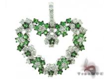 Emerald & Diamond Spring Heart Pendant Gemstone Pendants