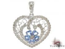Heart Light Blue Topaz & Diamond Pendant Stone
