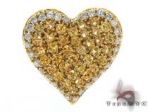 Heart Yellow Color Gemston Diamond Pendant Gemstone Pendants