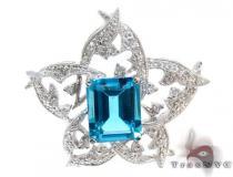 Flower Sky Blue Topaz &  Diamond Pendant Stone