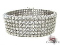 14k White Gold 6 Row Diamond Bracelet メンズ ダイヤモンド ブレスレット