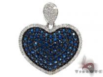 Heart Deep Blue Sapphire & Diamond Pendant Stone