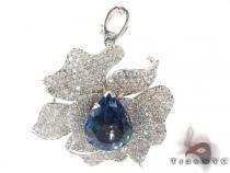 Blue Tanzanite & Diamond Flower Pendant Stone