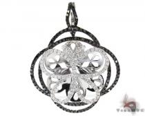 White Gold Round Cut Prong Black Diamond Butterfly Pendant Diamond Pendants
