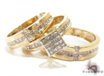Yellow Gold Princess Cut Invisible Diamond Ring Set Diamond Wedding Sets