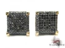 Yellow Gold Round Cut Pave Black Diamond Earrings Mens Diamond Earrings
