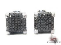 White Gold Round Cut Pave Black Diamond Earrings Mens Diamond Earrings
