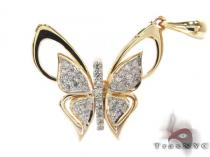 Yellow Gold Round Cut Prong Tension Diamond Butterfly Pendant Stone