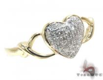 10K Yellow Gold Diamond Heart Ring Womens Diamond Rings