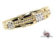 Yellow Gold Round Cut Prong Tension Diamond Ring Cheap Engagement Rings