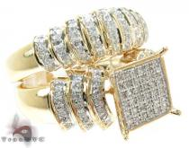 Yellow Gold Round Cut Micro Pave Diamond Ring Set Diamond Wedding Sets