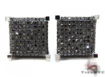 White Gold Round Cut Pave Black Diamond Cube Earrings Mens Diamond Earrings