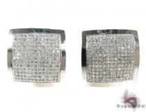 White Gold Round Cut Micro Pave Diamond Earrings Mens Diamond Earrings